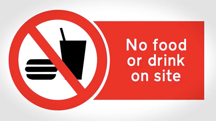 No food or drink safety Sign