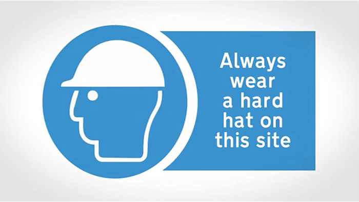Hard Hat Health and Safety Sign